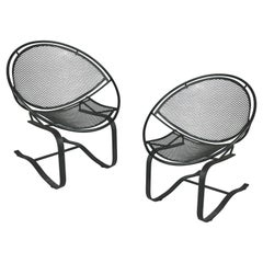 Pair of Wrought Iron Radar Lounge Chairs by Salterini, circa 1950