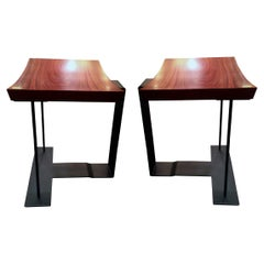"""Two stools, model """"T 1927"""", by Pierre Chareau, Ecart International Edition"""