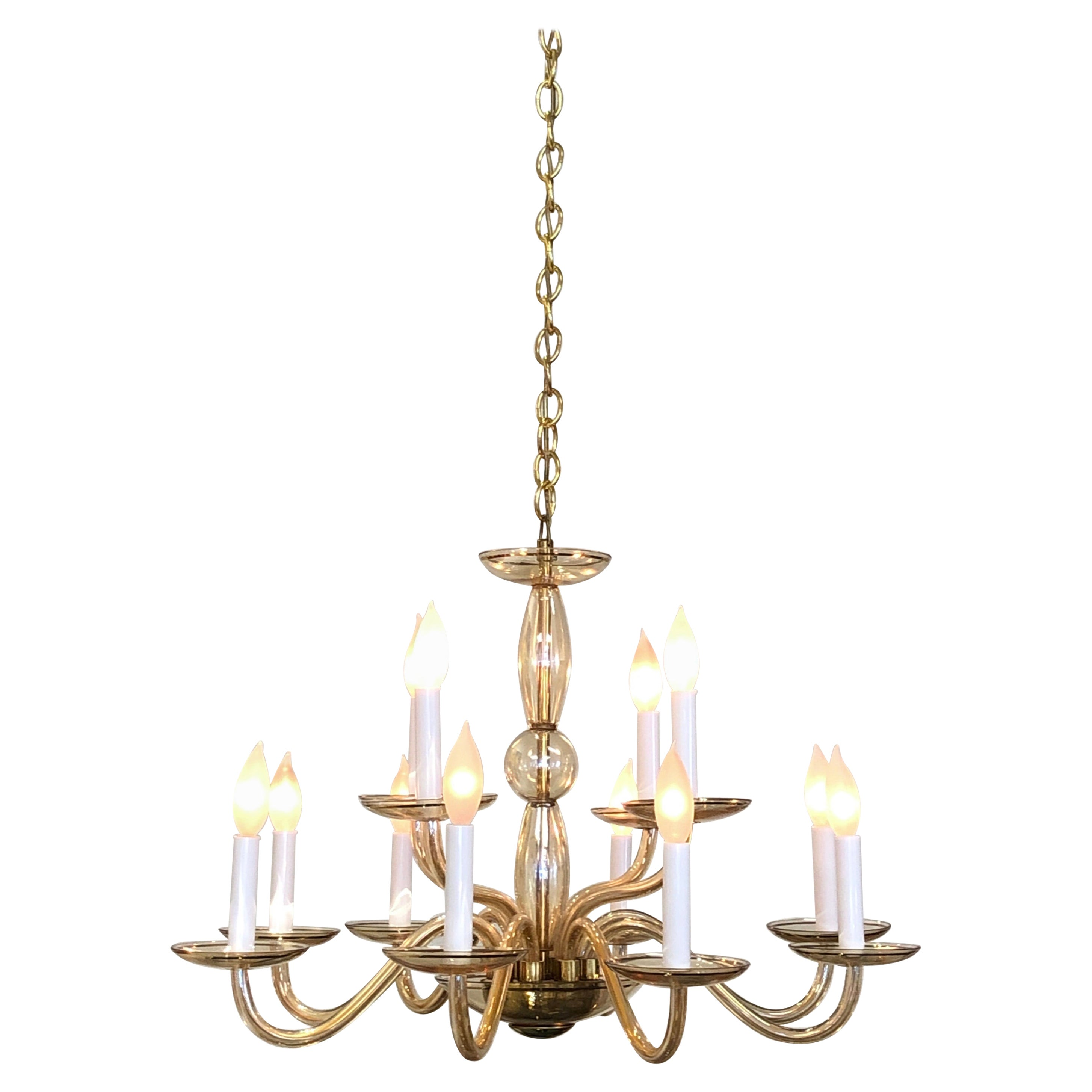 Italian Amber Murano Glass and Brass Chandelier