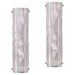Pair New Modern Clear Heavy Murano Glass and Brass Sconces