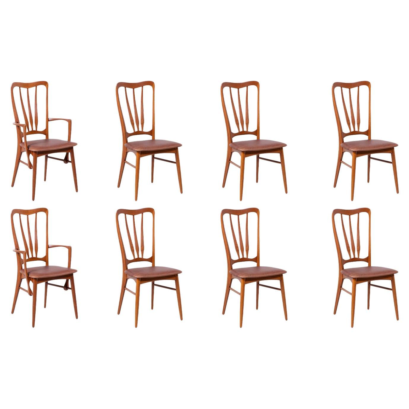 """Niels Koefoed """"Ingrid"""" Teak Dining Chairs for Koefoeds Hornslet"""