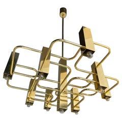Brass Chandelier by Sciolari for Boulanger, Belgium, 1970s