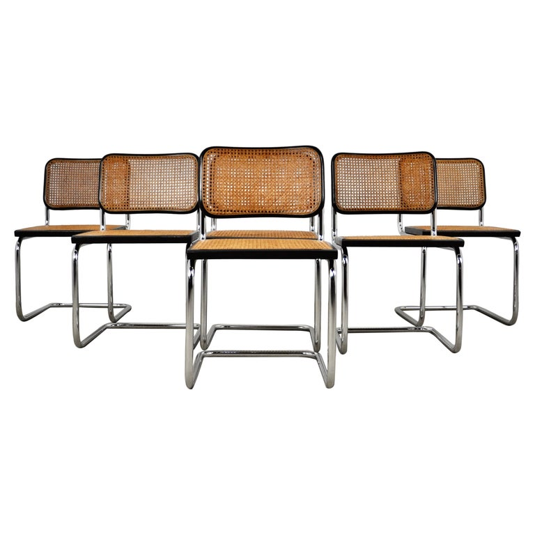 Black Dinning Style Chairs B32 by Marcel Breuer Set 6 For Sale