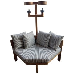 Guillerme et Chambron Oak Settee with Lamp, France 1950's