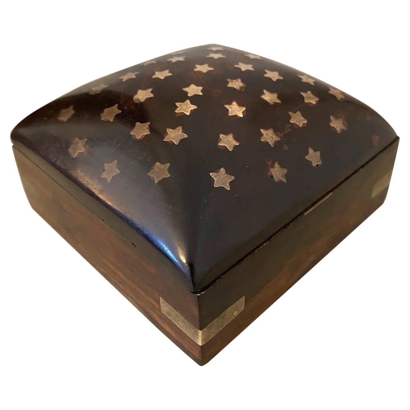 Vintage Trinket Rosewood Box with Brass Star Inlays, Denmark, c. 1960's