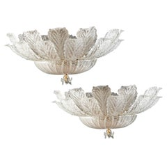 Pair of Lovely Murano Glass and Brass Ceiling Light Venice, 1980