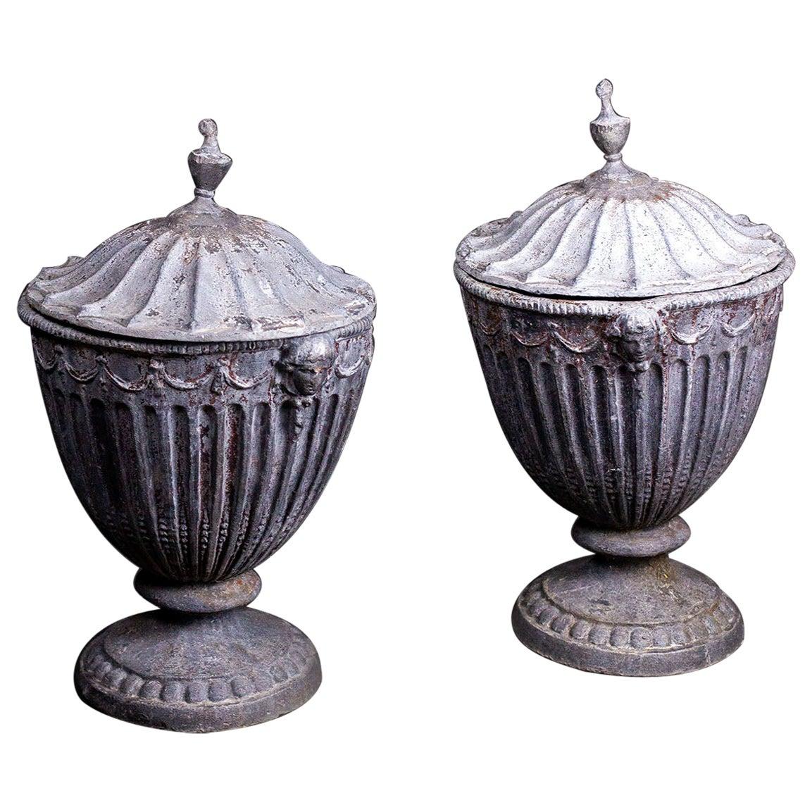 19th Century English Regency Lead Garden Urns