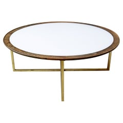 Mid Century Modern Round Coffee Table White Top Brass Base by Dunbar 1960s