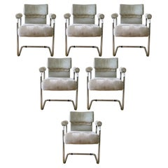 Mid Century Modern Mariani Italy Set of 6 Cantilever Chrome Dining Chairs 1970s