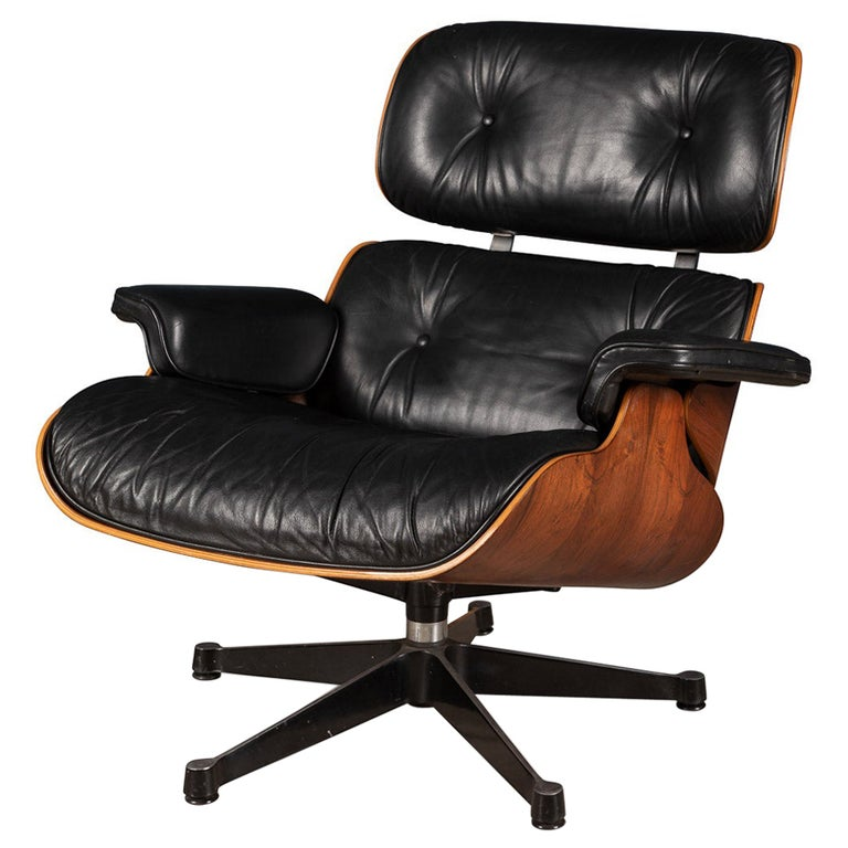 Iconic Eames Black Leather Lounge Chair by Vitra, C.1980 For Sale
