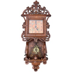 Antique Gothic Revival Wall Clock w. Trefoil, Holy Light & Butterfly Sculptures