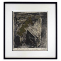 Mid-Century Modern Framed Pat Martin Bates Prairie Rain Storm Monoprint Signed