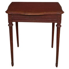 Period Gustavian Side Table in Original Salmon Paint