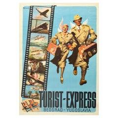 Original Vintage Poster Belgrade Yugoslavia Turist Express Holiday Travel Design