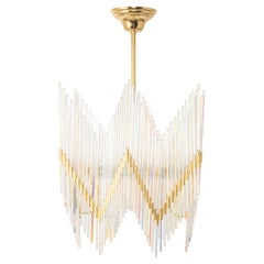 Stunning Gilt Brass and Crystal Glass Rods Chandelier by Palwa, Germany, 1970s