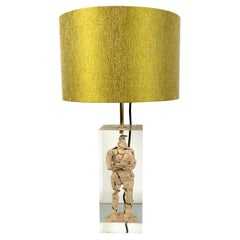 1980s Inclusion Lucite Table Lamp in a Manner of Maison Romeo Paris