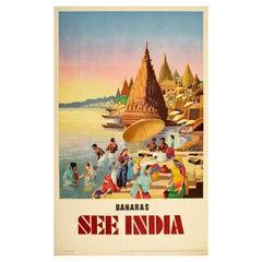 Original Vintage Travel Poster Varanasi Banaras See India Sacred River Ganges