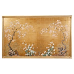 Japanese Byobu Style Four Panel Mounted Screen Cherry Blossoms