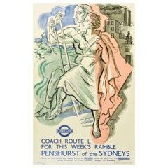 Original Vintage London Transport Poster Penshurst Of The Sydneys Walking Trips