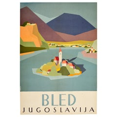 Original Vintage Travel Poster Lake Bled Island Yugoslavia Mountains Midcentury