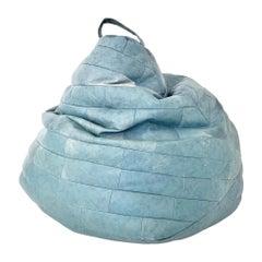 Oversized Powder Blue Patchwork Leather Bean Bag by De Sede