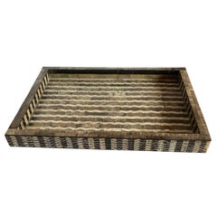 Brown, Cream, Black Large Carved & Etched Bone Tray, India, Contemporary