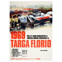 Original Vintage Poster Porsche 1969 Targa Florio Auto Racing Victory 908 911T