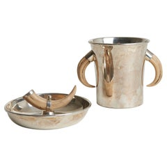 Silvered and Horn Champagne Cooler and Bowl