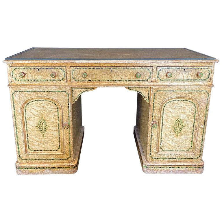 Magnificent English 19th Century Faux Painted Marbleized Pedestal Writing Desk For Sale