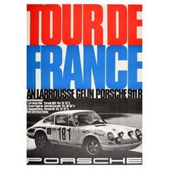 Original Vintage Poster Porsche 911 Tour De France Auto Racing Larrousse Gelin