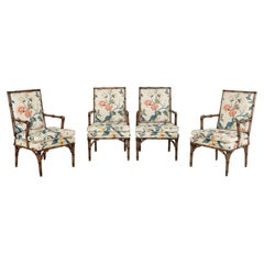 Bob Hope's Set of Four Faux Bamboo Chintz Dining Chairs