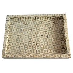Natural, Silver, Brass Carved & Etched Bone Tray, Indian, Contemporary