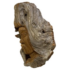Mid Century Modern Mcroy Carved Wood Portrait Bust Table Sculpture