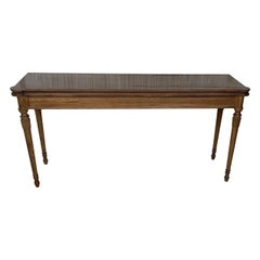 Louis XVI Style Oak Convertible Console, Dining Table with Brass Trim