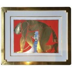 Contemporary Modern Framed Serigraph Twilight Signed Erte 1980s w Gold Leaf COA