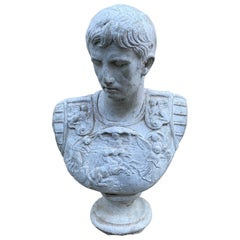 Dramatic French Renaissance Style Caesar Male Bust Statue Sculpture