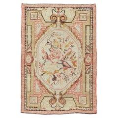 Mid-20th Century Handmade Turkish Ghiordes Throw Rug