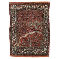 Early 20th Century Handmade Persian Wagireh Bidjar Accent Rug
