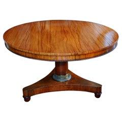 English Regency Period Center Table in Zebra Wood Four Foot Diameter