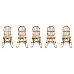 Set of Five French Bamboo and Rattan French  Sculptural Dining Chairs circa 1970