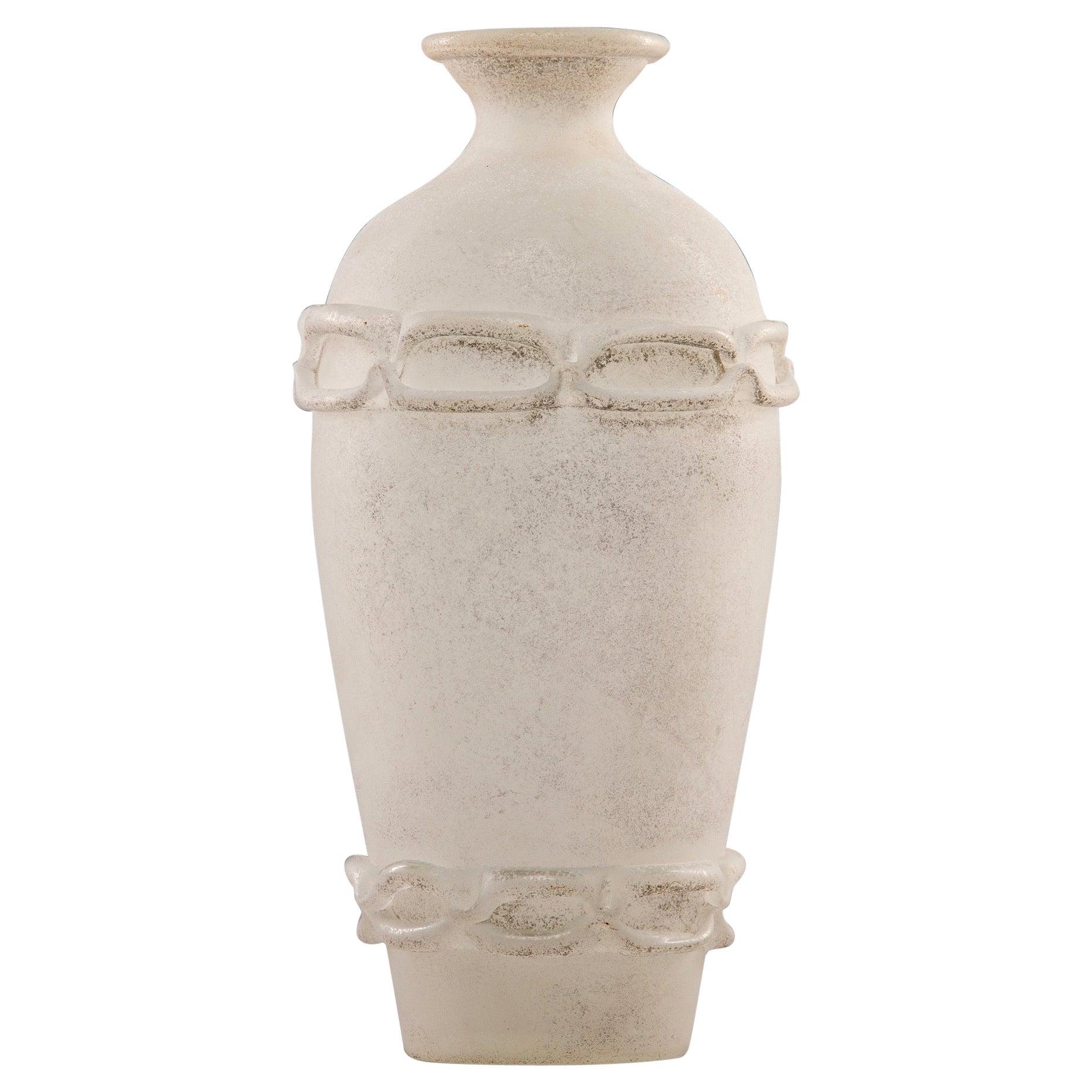 Tall Signed Seguso Scavo Style White Murano Glass Vase