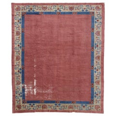 Distressed Antique Chinese Peking Rug with Industrial Art Deco Style