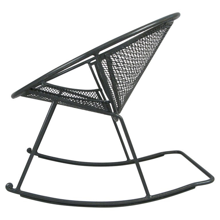 Rare Salterini 'Radar' Wrought Iron Rocking Chair For Sale