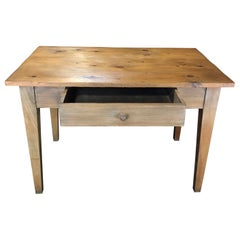 Charming French 19th Century Pine Provincial Desk or Side Table