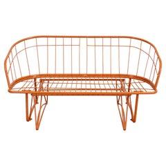 Mid-CenturyAtomic Orange Homecrest Outdoor Metal Curved Back Glider Bench