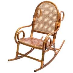 Mid-Century Modern Bohemian Chic Style Bamboo & Cane Children Rocking Chair 1960