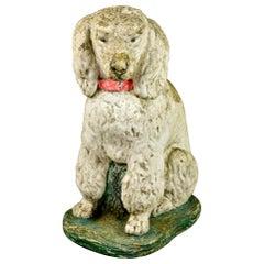 Early 20th C English Small Stone Garden Dog