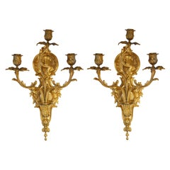 Pair of Bronze Gilt French Sconces, Late 19th Century