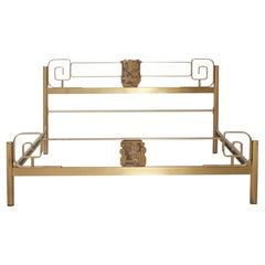 Midcentury Bed Frame of Lacquered and Patinated Brass, Italy, 1970s