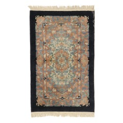Antique Chinese Art Deco Rug with European Influenced Chinoiserie Style